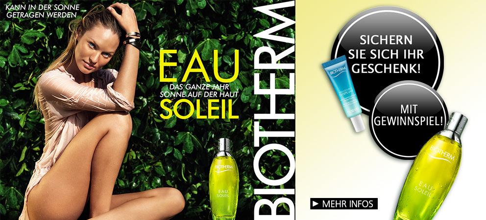 Parfümerie Pieper online - EAU SOLEIL von Biotherm - Die ultimative Essenz eines Sommertages. Nehmen Sie am Gewinnspiel teil und sichern Sie sich Ihr Geschenk!