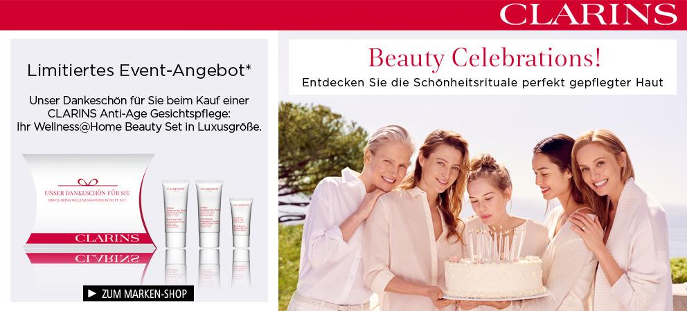 Clarins Beauty Celebrations! Entdecken Sie die Schönheitsrituale perfekt gepflegter Haut. + Kundengeschenk