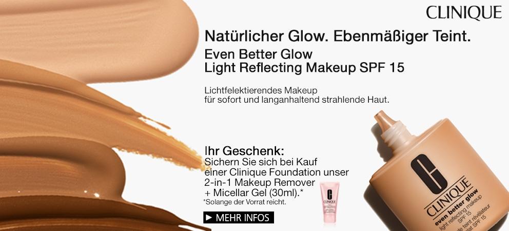 Natürlicher Glow. Ebenmäßiger Teint. Even Better Glow Light Reflecting Makeup SPF 15 von Clinique + Geschenk