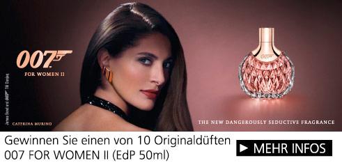 Parfümerie Pieper online - 007 FOR WOMEN II DIE PRICKELNDE ERWEITERUNG DER JAMES BOND 007 DUFTLINIE. Nehmen Sie am Gewinnspiel teil!