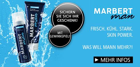Parfümerie Pieper online - MARBERT MAN SKIN POWER verleiht Männerhaut von Kopf bis Fuß mehr Frische, Wohlbefinden und Power. Nehmen Sie am Gewinnspiel teil und sichern Sie sich Ihr Geschenk.
